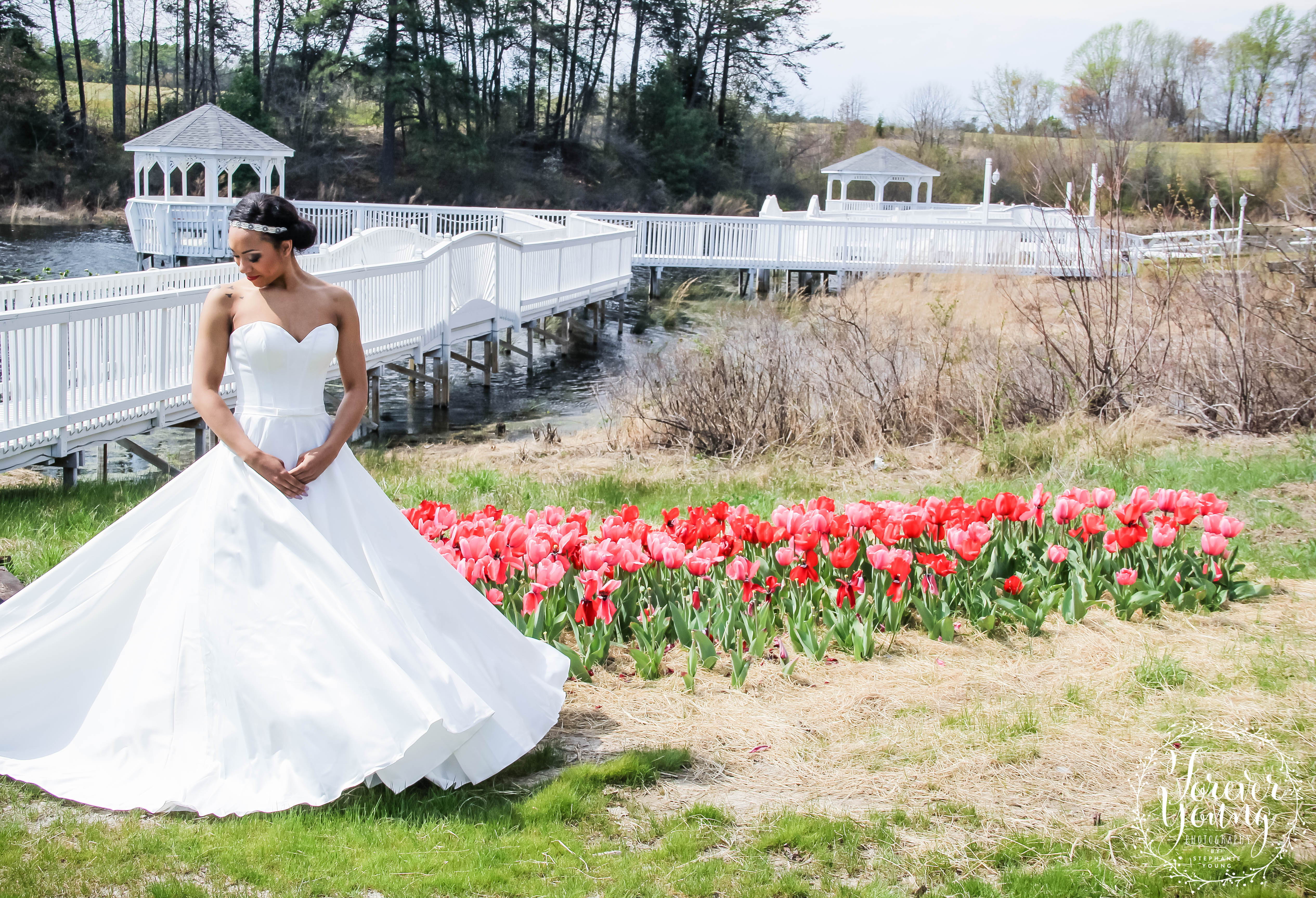 Take breathtaking wedding photos with the pier and gazebos in the background.